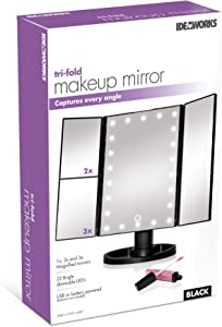 IdeaWorks Tri-Fold LED Makeup Mirror w/Magnification Side Panels - Black