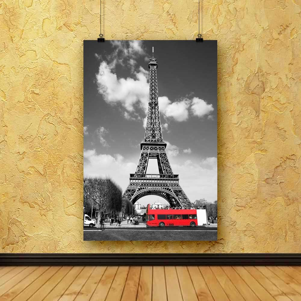 PB Eiffel Tower With Red Bus In Paris, France Canvas Painting 6mm ...