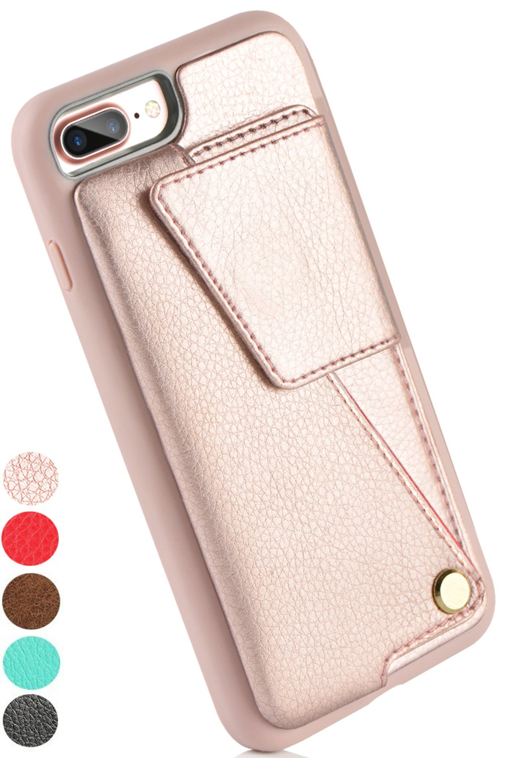 iPhone 8 Plus Wallet Case, ZVEdeng iPhone 7 Plus Card Holder Case, Protective Shockproof Leather Wallet Case with Card Holder for Apple iPhone 8 Plus (2017)/iPhone 7 Plus (2016) - Rose Gold …