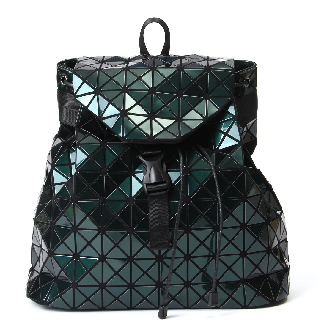 Harlermoon Geometric Luminous Holographic Purses and Handbags Flash Reflactive Tote for Women … (geometric backpack green)