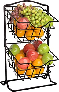 Farmhouse 2 Tier Fruit Basket, Wire Potato and Onion Storage, Fruit Holder for Kitchen Countertop, Tiered Fruit and Vegetable Stand, Snack, K-Cup Basket, Black