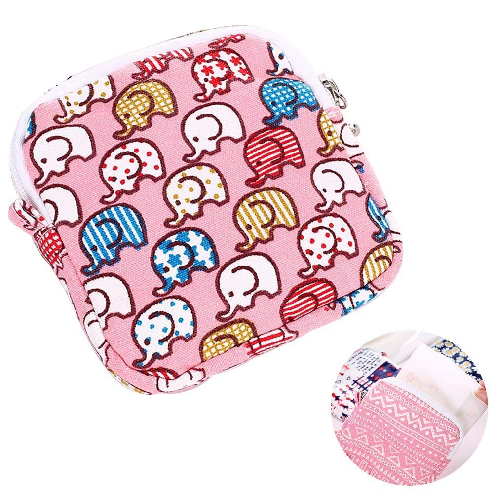 1pc Sac serviettes hygiéniques en soins infirmiers Pouch Coupe menstruelle Pad Holder mignon Lavable Organisateur de stockage 4.5 « x4.5 » (Elephant) Xiton