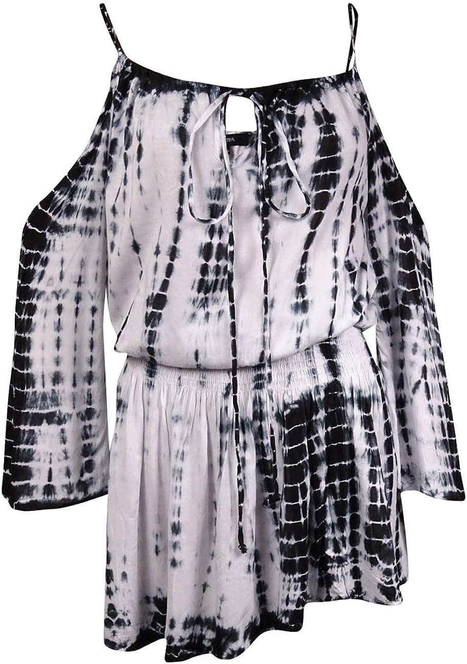 Raviya Smocked Boho Cold-Shoulder Cover-Up Black//White Size Small
