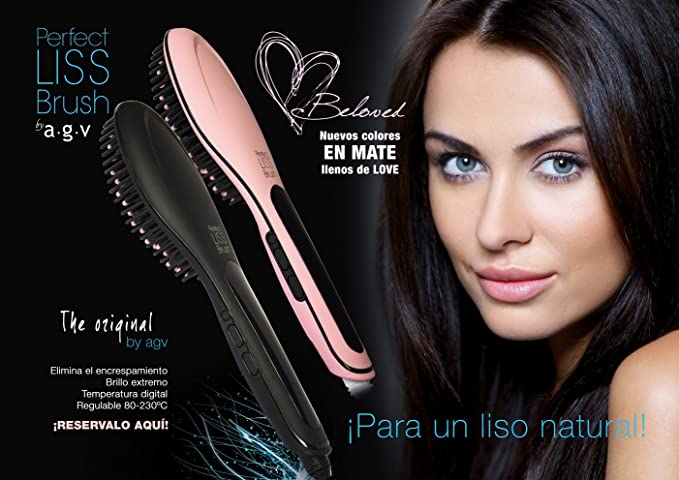 AGV - CEPILLO ELECTRICO ALISADOR DE PELO. PROFESIONAL - AGV PERFECT LISS BRUSH - EDICIÓN LIMITADA BELOVED - ROSA MATE: Amazon.es: Salud y cuidado personal