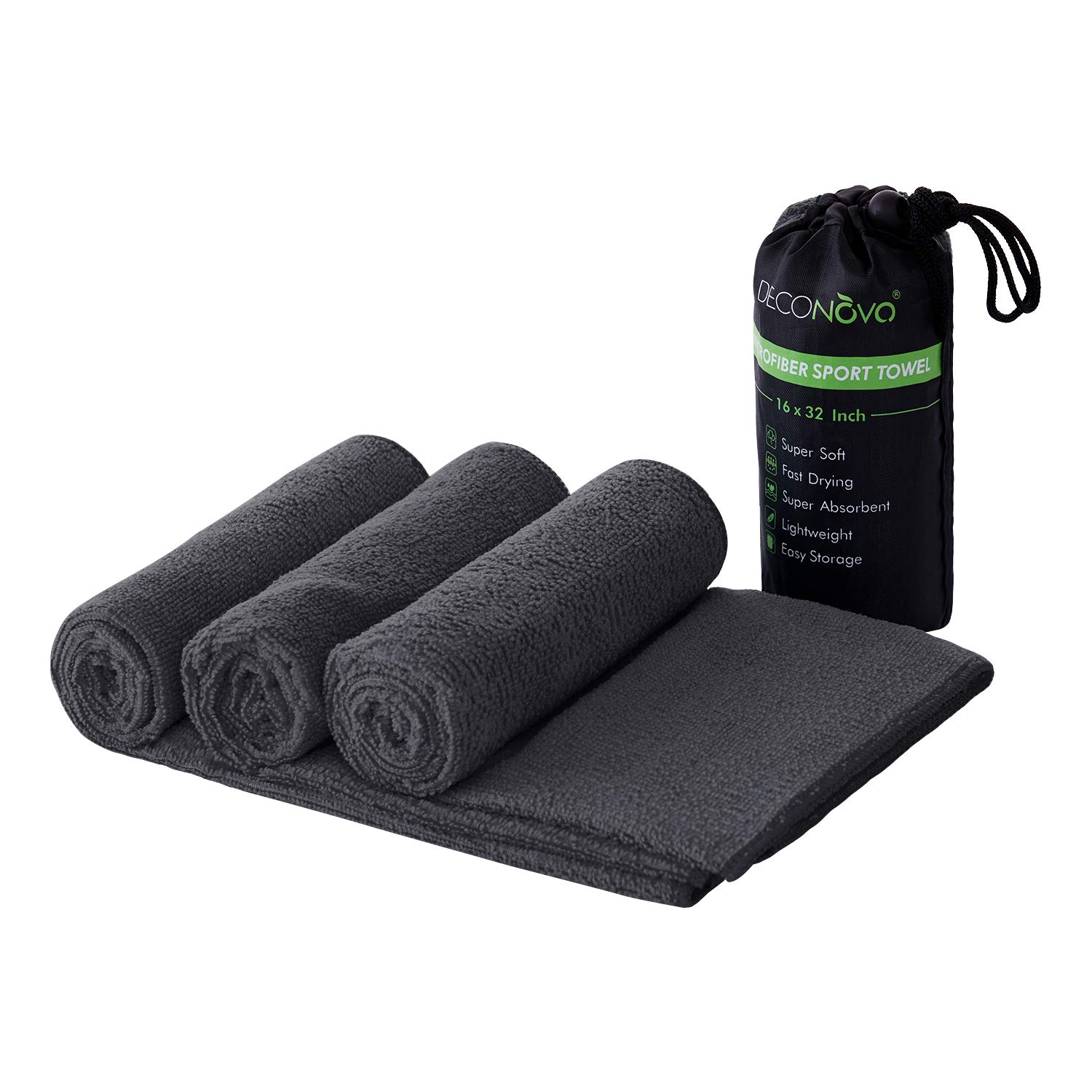 Deconovo Multi-Purpose Microfiber Sports Towel Absorbent Fitness Fast Drying Lightweight Swimming Workout Ultra Compact Towels for Travel Sweat Gym Camping with Mesh Bag