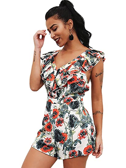 d4b591e7469 Image Unavailable. Image not available for. Color  Glamaker Women s Sexy V  Neck Backless Floral Short Rompers Ruffles Jumpsuit