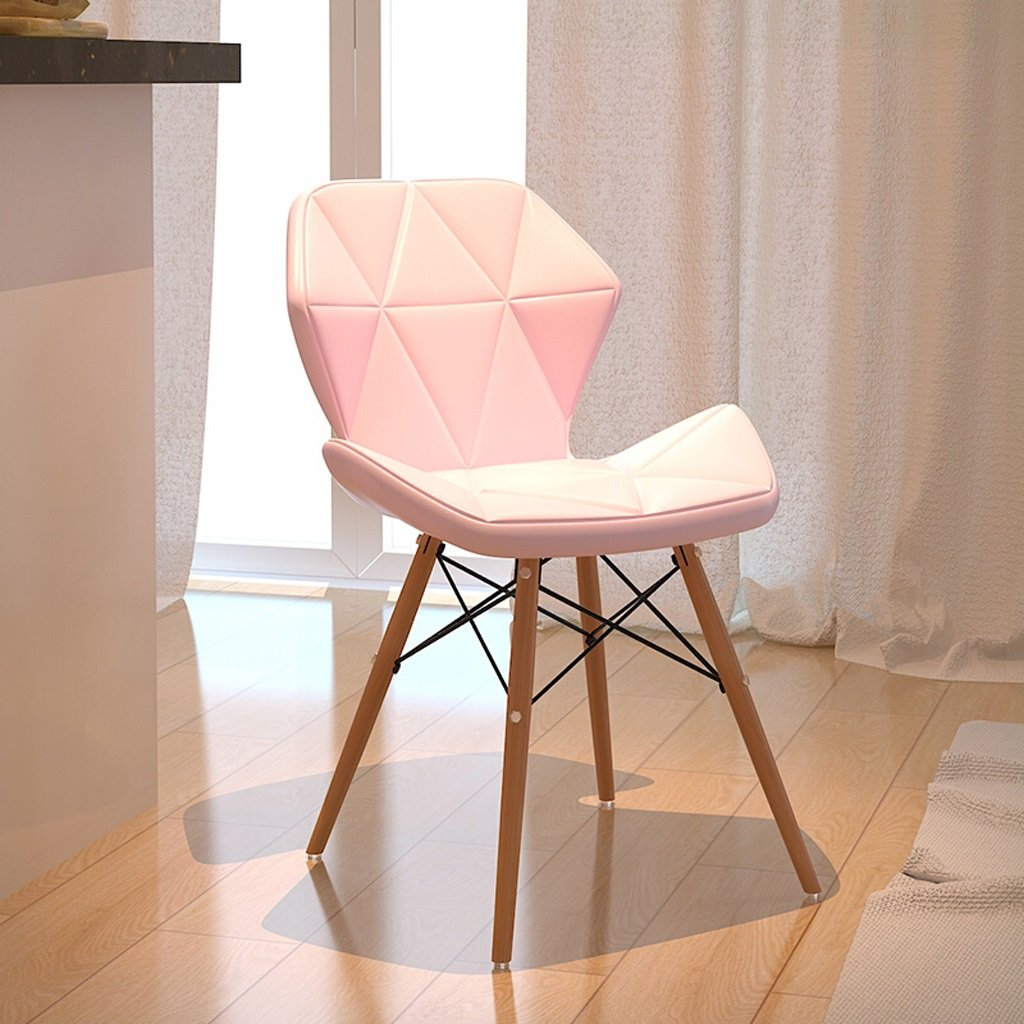 TangMengYun Solid Wood Leather Chair Computer Chair Conference Table Office Stool Modern Simple- 35 3671cm (Color : Pink, Size : 3571CM)
