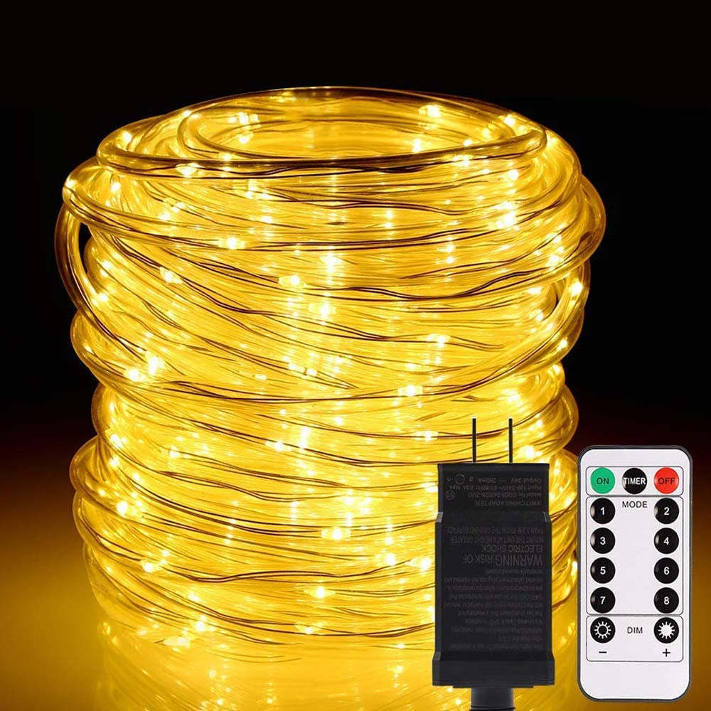 ALOVECO LED Rope String Lights Outdoor, 72ft 336 LEDs Rope Lights 24V Plug in Rope Lighting Extendable Remote Dimmable 8 Modes Waterproof ETL Listed for Tree Patio Garden Fence Roof, Warm White