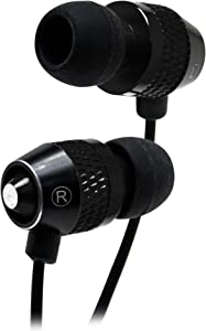 Bastex Universal Earphone/Ear Buds 3.5mm Stereo Headphones in-Ear Tangle Free Cable with Built-in Microphone Earbuds for iPhone iPod iPad Samsung Android Mp3 Mp4 and More-Black/Black