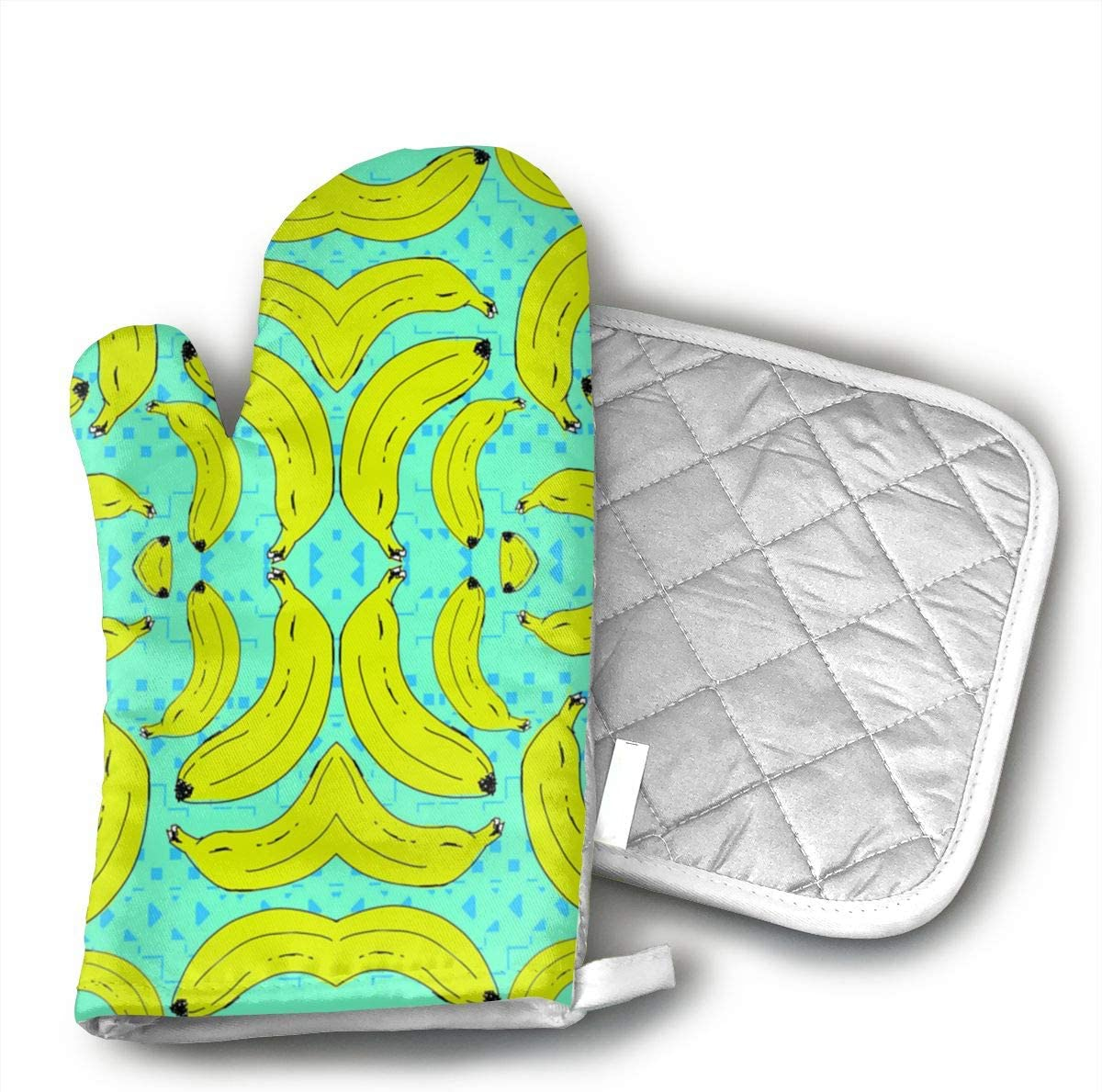 Klasl5 Silly Nana Heat Resistant Kitchen Oven Mitt with Non-Slip Printed,for BBQ Cooking Baking, Grilling, Barbecue,Microwave, Machine Washable.