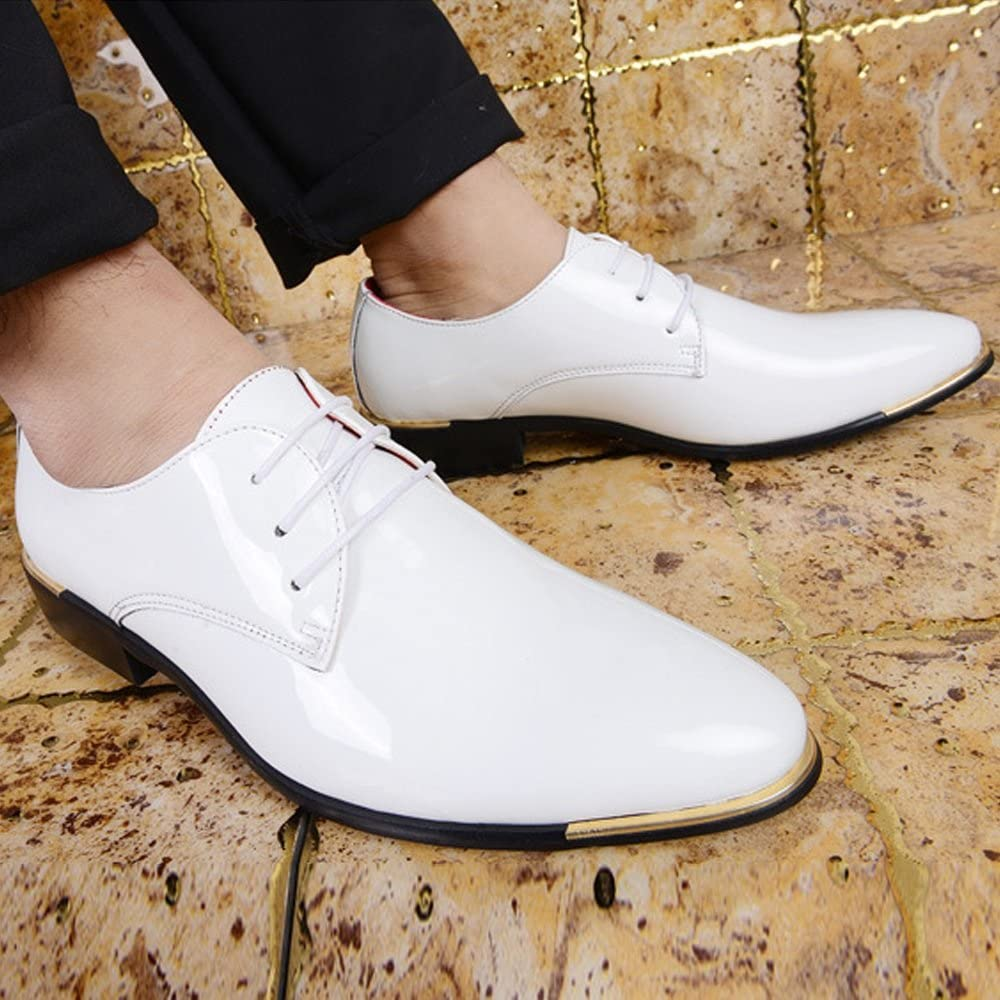 ZLQ Mens Formal Oxfords PU Patent Leather Low Block Heel Lace Up Loafer Shoes Large Size Breathable Shoes