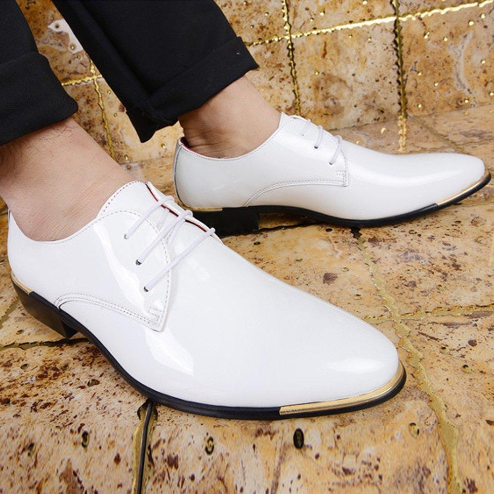 Jiuyue-scarpe, 2018 Scarpe da uomo in in in pelle liscia da uomo Classiche mocassini con lacci Scarpe Uomo Pelle (Colore   Bianca, Dimensione   48 EU) 5b17e5