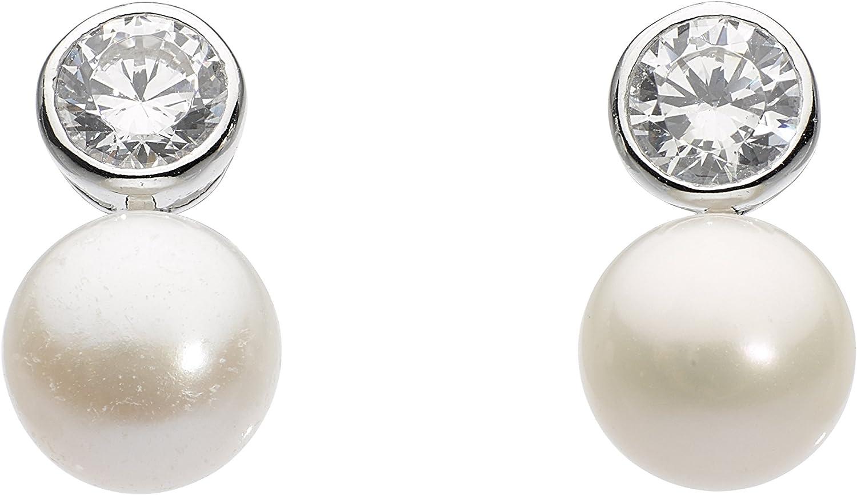 Dew mujer Plata de ley (925/1000) plata redondo redonda perlas agua dulce China blanco crudo perla circonita