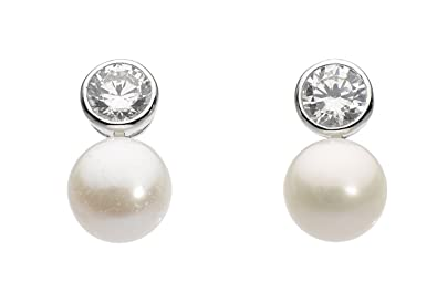 bbec5bd73 Dew Sterling Silver Freshwater Pearl and Cubic Zirconia Round Stud Earrings