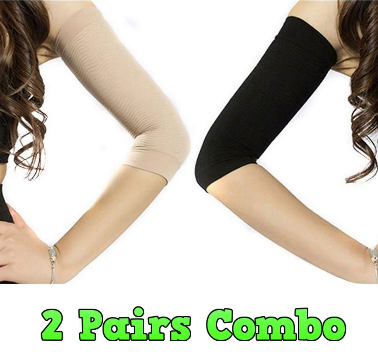 e5a26effdc Amazon.com : Adecco LLC 2 Pair Slimming Compression Arm Shaper Helps Tone  Shape Upper Arms Sleeve : Beauty