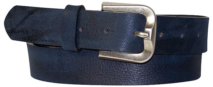 a72ec2eee347 Fronhofer Ceinture pour homme 3,5 cm ceinture en cuir vintage boucle argent  vieilli ceinture