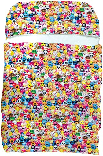 iscream Emoji Collage 70 x 28 Faux Sherpa-Lined Silky Silky Fleece Zippered Sleeping Bag