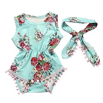 d4182fc820e4 Amazon.com  FEITONG Toddler Infnt Baby Girls Floral Bodysuit Romper ...