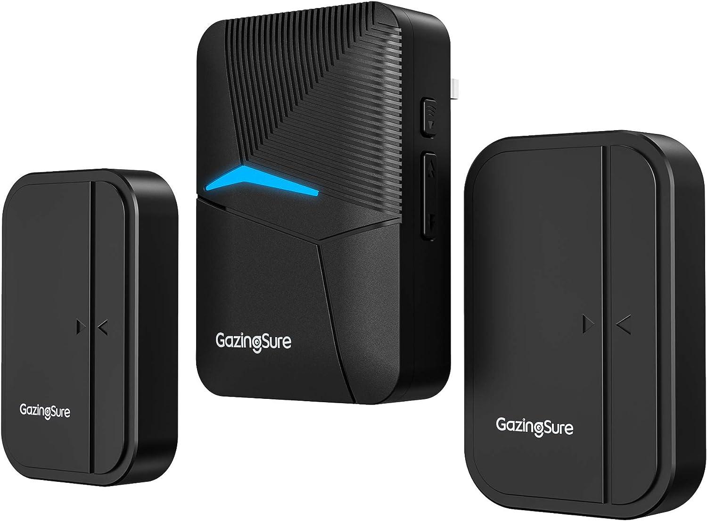 Door Sensor Alarm, GazingSure 1500ft Range Wireless Door Buzzer Entry Systems, Window/Door Security, Entry Alert Chime, Two Sensors One Receiver
