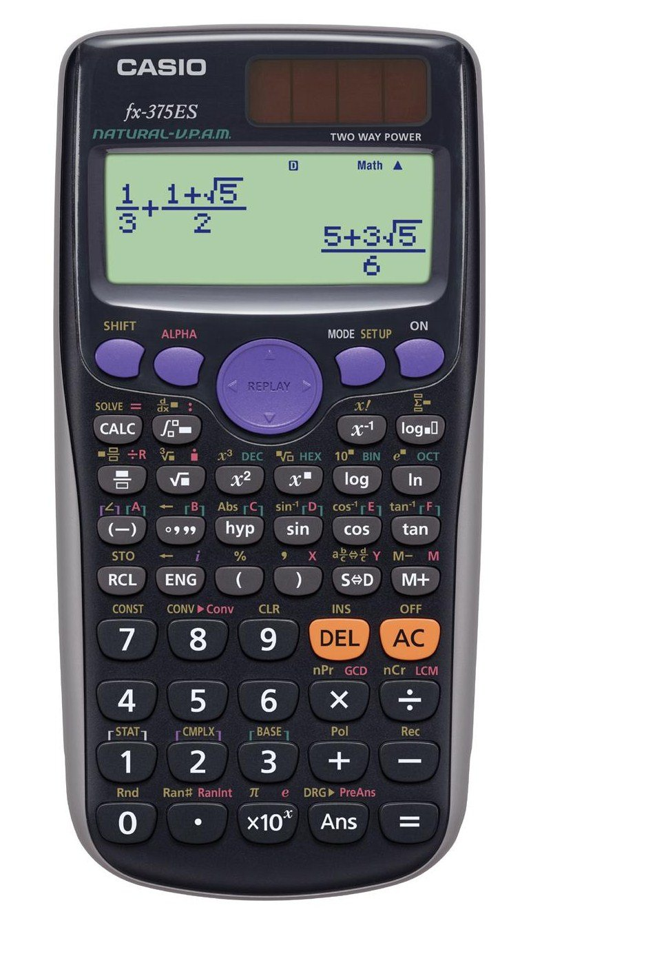 関数電卓 数学自然表示 394関数 10桁 fx-375ES-N ブラック