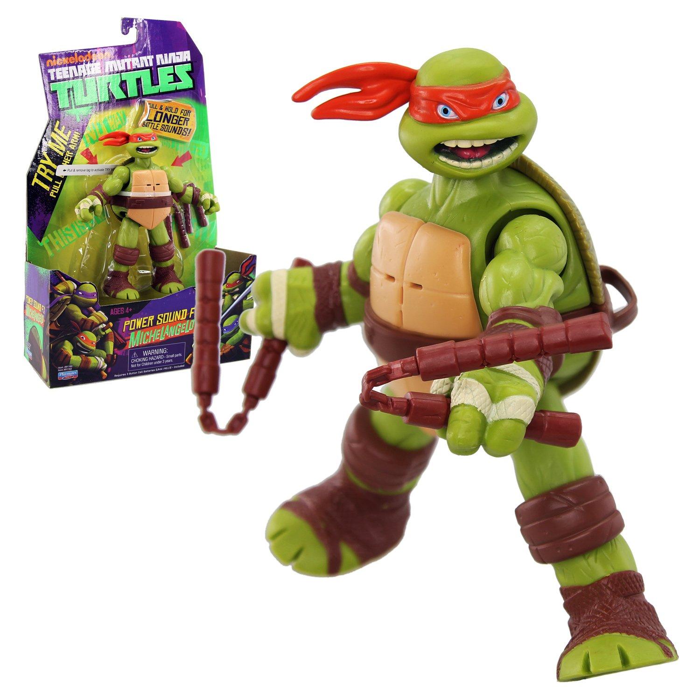 Teenage Mutant Ninja Turtles Powersound Fx - Figura de la tortuga ninja Michelangello con sonidos