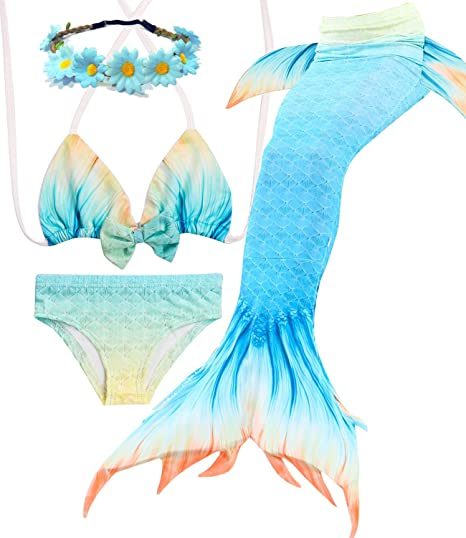 615a817be16ab Jeferym Mermaid Tails Swimsuits for Swimming Bikini Set Can add Monofin for  Toddler Big Girls D