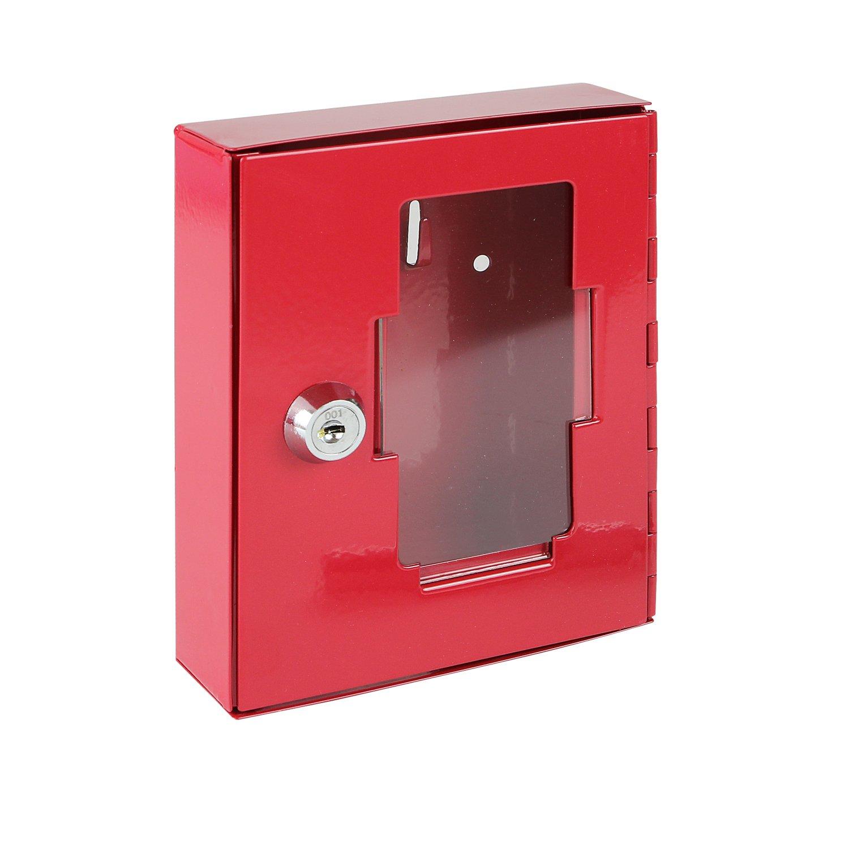 HMF - Caja de emergencia para llaves (con martillo para romper el cristal, 15 x 12 x 4 cm), color rojo