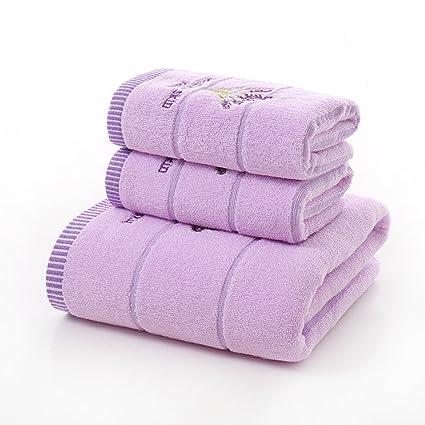 Juego de toallas de baño de algodón de tres piezas con estampado de lavanda, juego