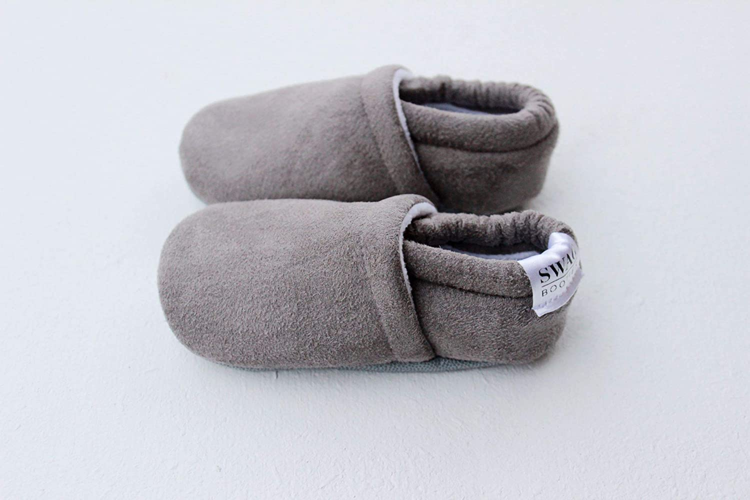SWAG booties gray faux suede non slip sole baby newborn shoes