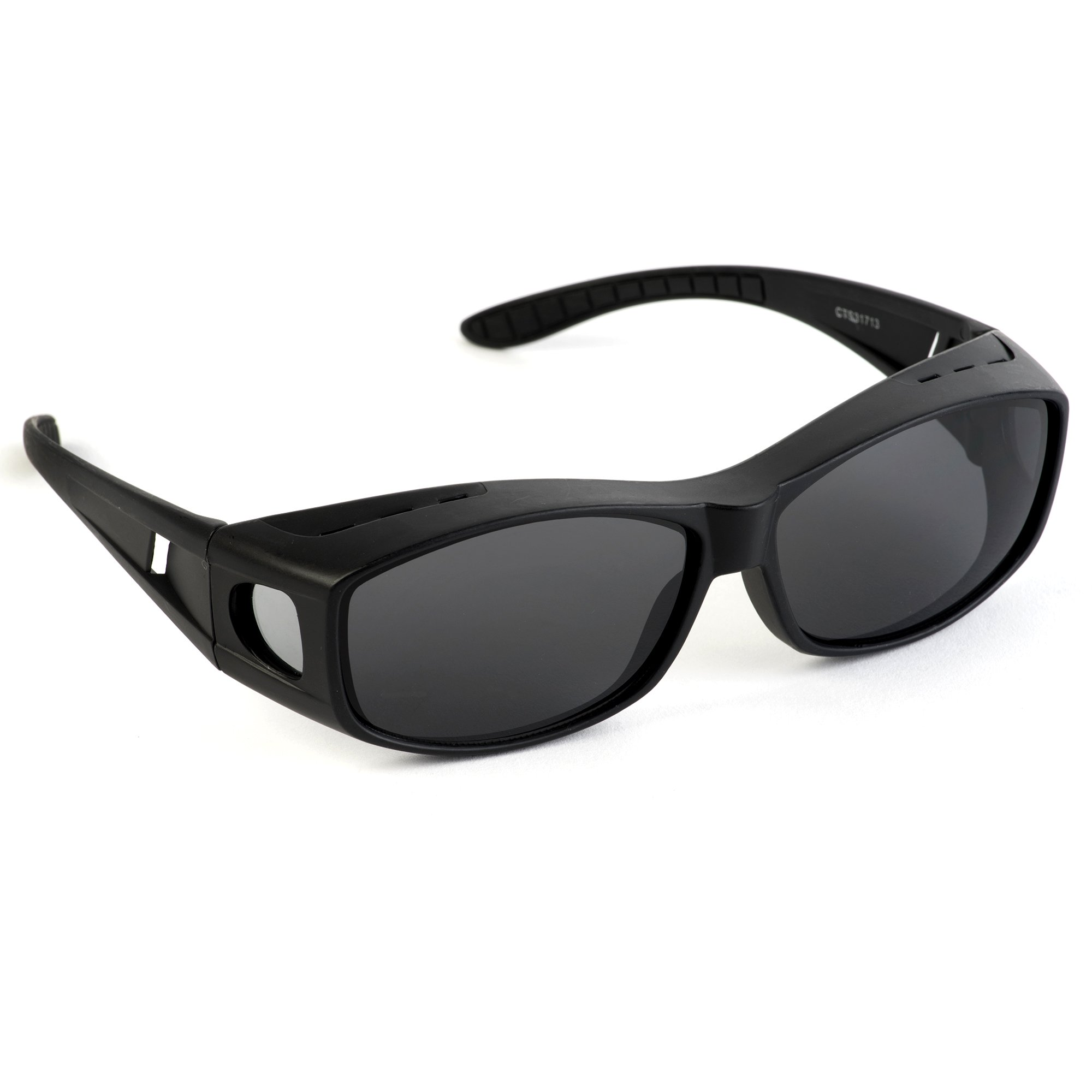 Over Glasses Sunglasses - Polarized Fitover Sunglasses with 100% UV Protection - Style 1 By Pointed Designs (Black)