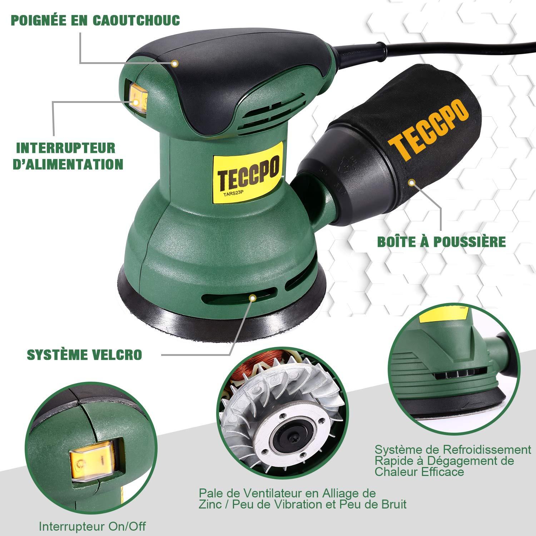 TECCPO TARS23P 280W Ponceuse Excentrique 12,500 RPM pour polir le bois et le m/étal