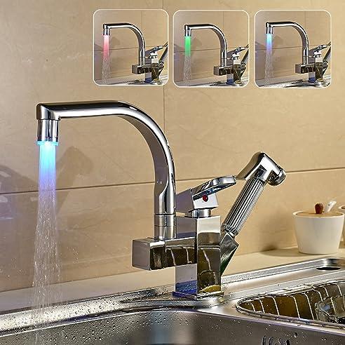 Auralum® Elegant Bunte LED 360° Schwenkbar Küchenarmatur Spültischarmatur  Wasserhahn Mit Herausziehbarer Handbrause,Hochwertige