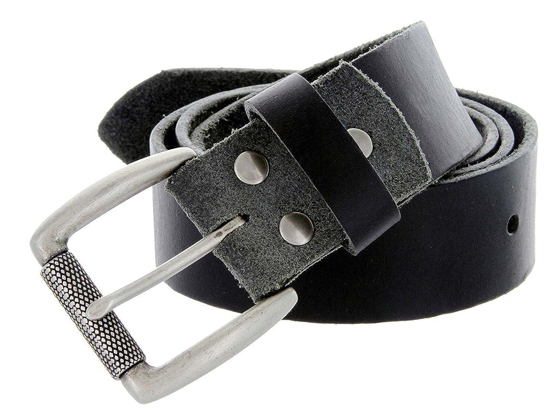 Hagora Men 1.5 Wide Thick Full Grain Cowhide Textured Brass Roller Buckle Belt