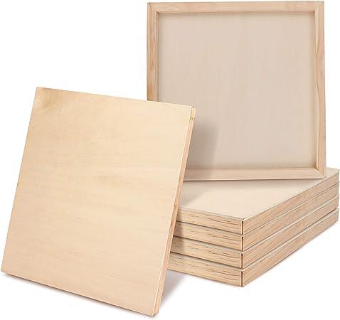 BELLE VOUS Tela in Legno (Set da 6) 20x20cm (8x8 inch) Pannelli di Legno per Pittura all'Interno o Esterno, Disegno, Arte Encaustica ed Artigianato,