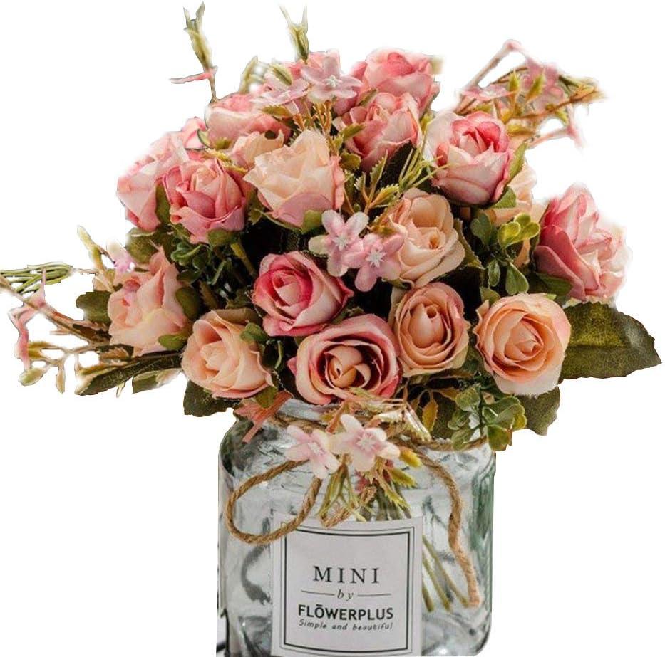 BuleXP 3 Pieza 10 Cabezas Flores Artificiales Rosas Decoración Plásticas Bouquet de Seda Simulación Flores Falsas para El Hogar de Mesa Weeding Party Decoración DIY o Ramo de Novia Pink