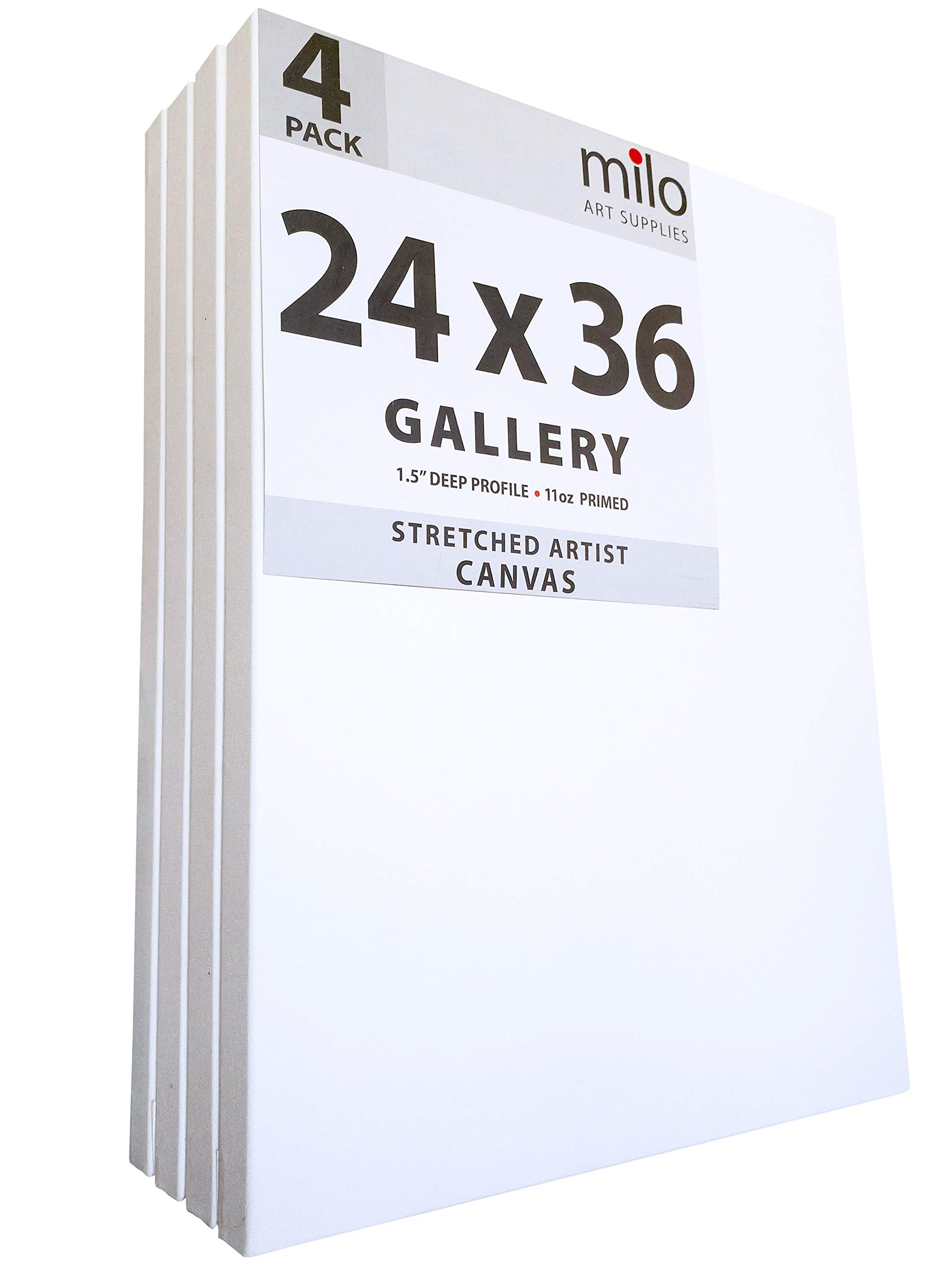 MILO PRO | 24 x 36'' Stretched Canvas Pack of 4 | 1.5'' inch Deep Gallery Profile | 11 oz Primed Large Professional Artist Painting Canvases | Ready to Paint White Blank Art Canvas Bulk Set by milo