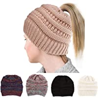 GRE1BEE Ponytail Beanie High Bun Hat Winter Messy Hat Tail Soft Stretch for Women