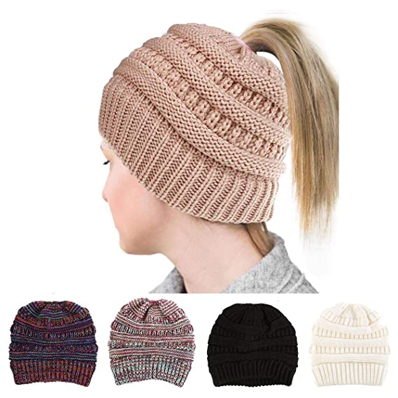 GRE1BEE Ponytail Beanie High Bun Hat Winter Messy Hats Tail Soft Stretch  Trendy for Women Beige  Amazon.ca  Clothing   Accessories 4f163d550253