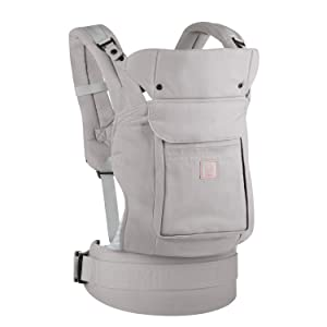 GAGAKU Soft Front and Back Baby Carrier with Detachable Hood Soft Cotton Child Carriers 3 Carrying Positions (5 - 48 Months) - Grey