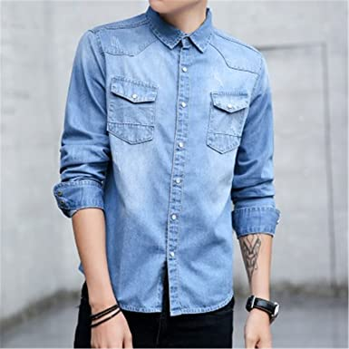 157b757a1612c Special Beauty and Handsome NEW Hot Sale Solid Autumn New Men Shirt Jeans  Long Sleeve Camisa