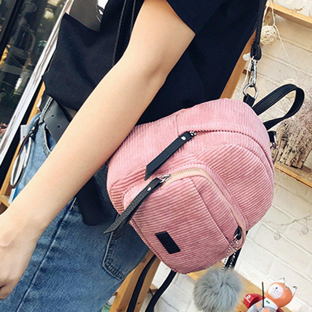 Shoulder Bags, Backpacks for Woman Girl Vintage Corduroy Travel School Bag Cute Striped Pompon Backpack (Pink) by Euone_Bag (Image #2)