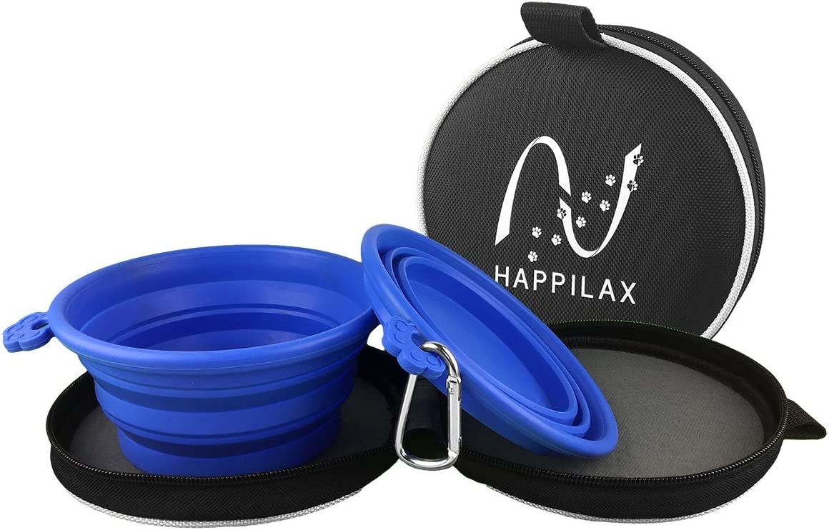 Happilax Comedero y Bebedero portátil y Plegable para Perro y Gato con Bolsa de Viaje