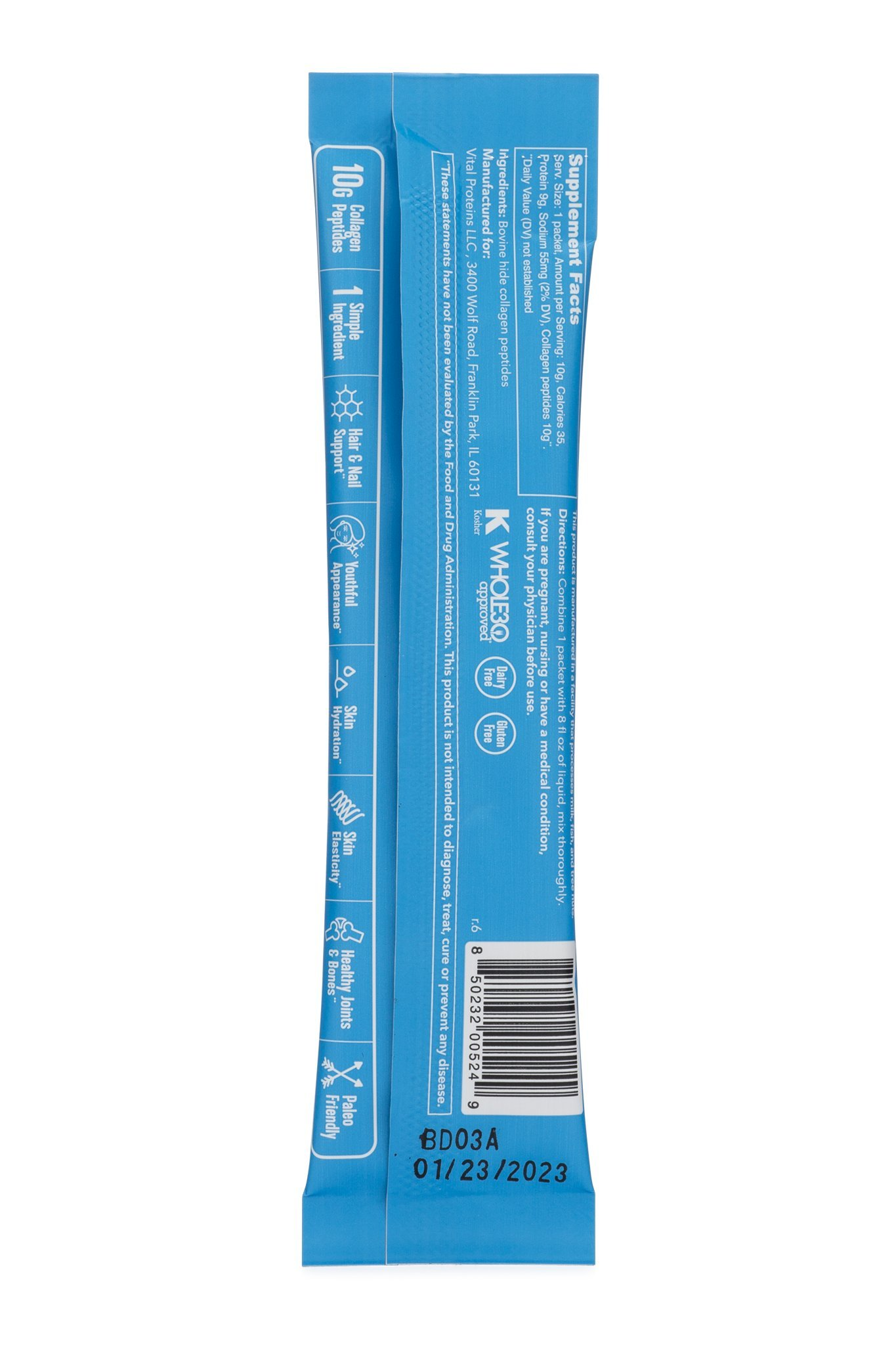 Vital Proteins Collagen Powder Stick Packs - 20ct - Hydrolyzed Collagen on The go, Dairy Free, Gluten Free by Vital Proteins (Image #3)