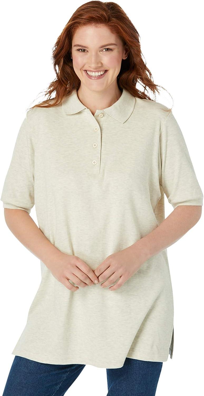 Woman Within Women's Plus Size Elbow-Sleeve Polo Shirt