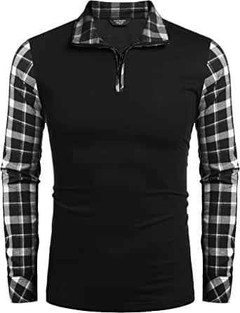 COOFANDY Men's Long Sleeve Polo Shirts Casual Slim Fit Zipper Plaid Polo T Shirts