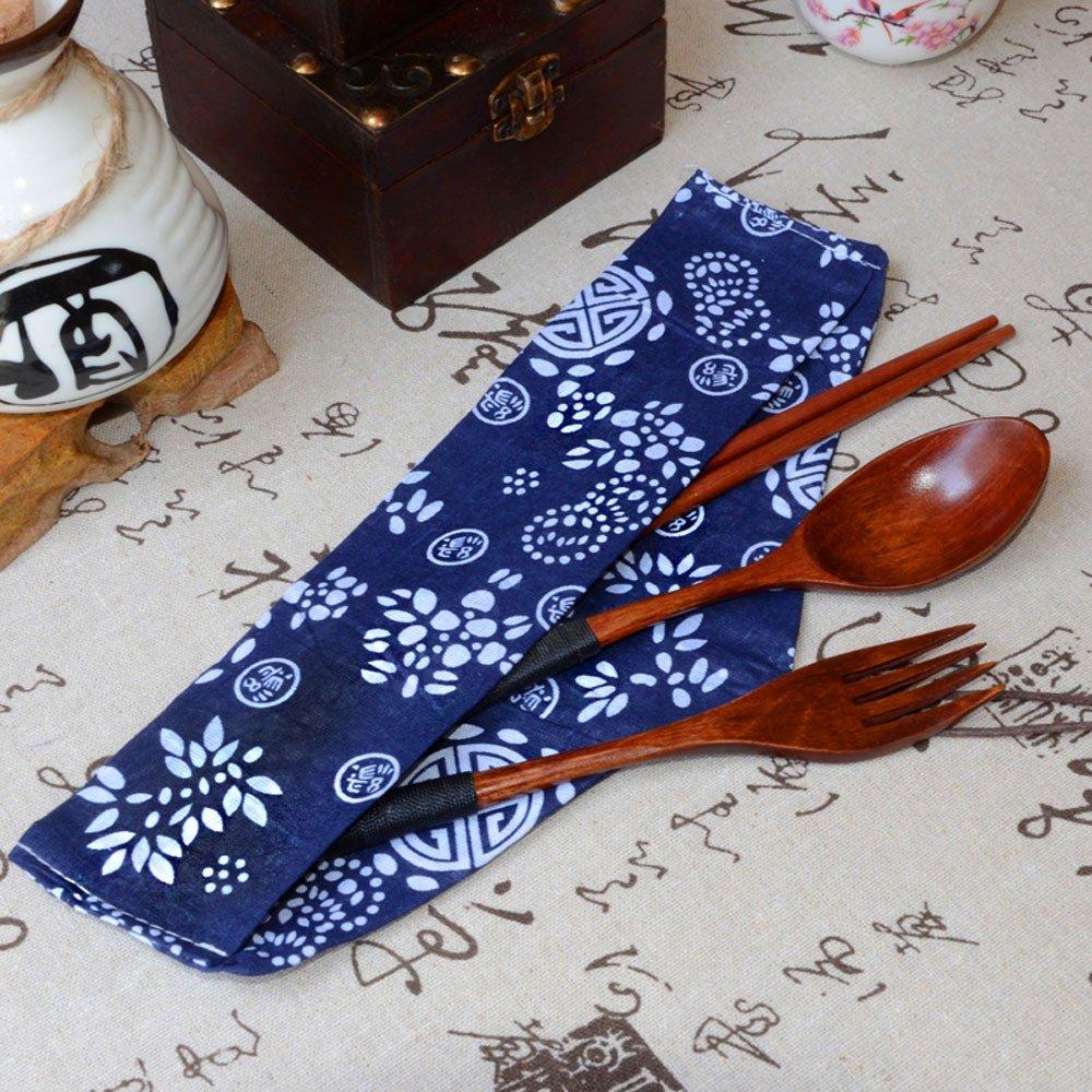 Japanese Tableware,Lovewe Japanese Vintage Wooden Chopsticks Spoon Fork Tableware 3pcs Set New Gift by Lovewe_Kitchen Tool (Image #3)