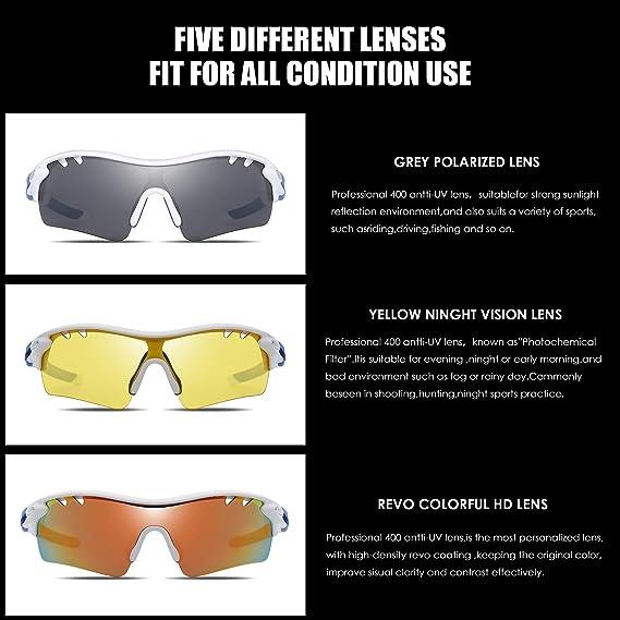 5a0b010b5ae Jim Halo Polarizadas Deporte Gafas de Sol Para Hombre Mujer UV400  Protección Ciclismo Correr Pescar Anteojos 3 Lentes Intercambiable Blanco  Azul  Amazon.es  ...