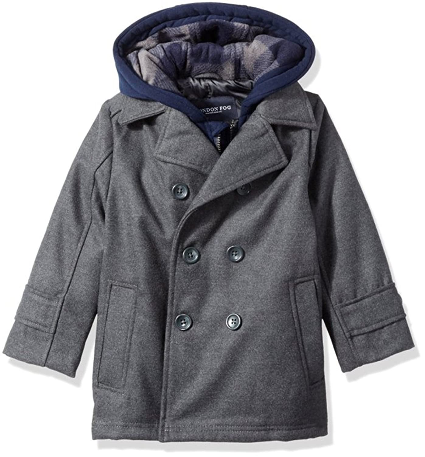 c827a497cff5 London Fog Baby Boys Double Breasted Faux Wool Hooded Coat ...