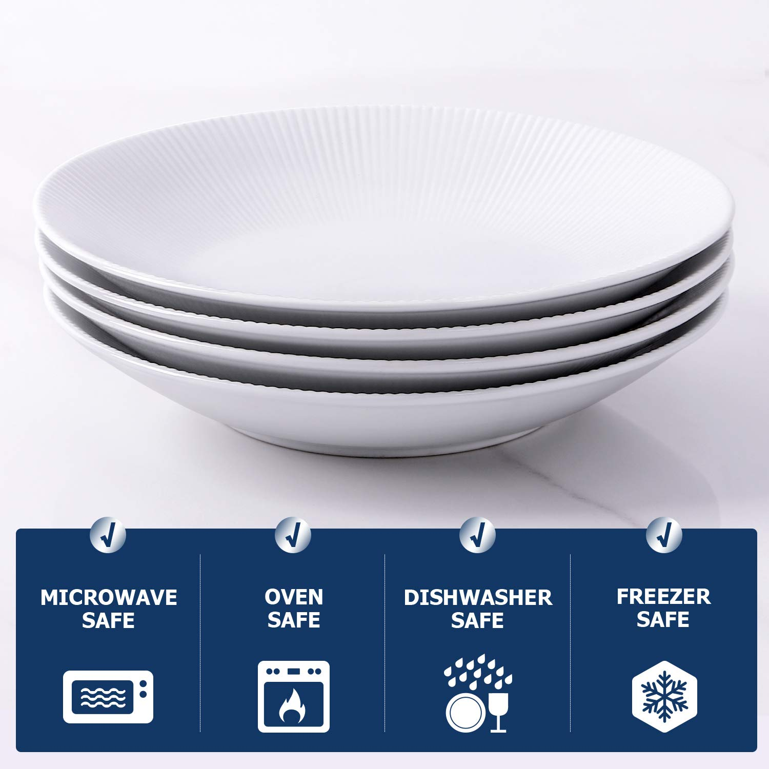 Y YHY 30 Ounces Porcelain Pasta Salad Bowls, 9.6 Inches White Serving Bowls Set, Wide and Shallow, Set of 4, Stripe Pattern