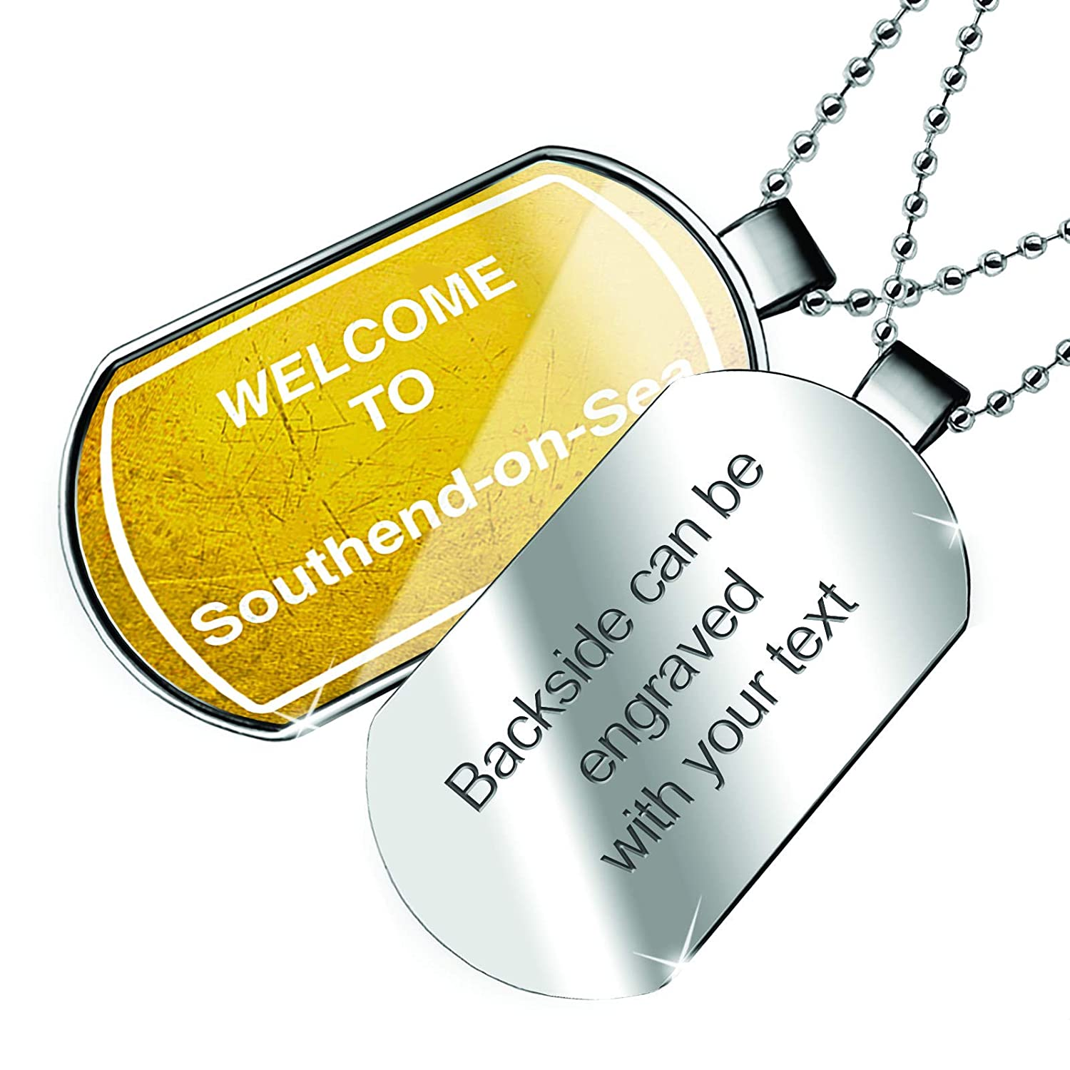NEONBLOND Personalized Name Engraved Yellow Road Sign Welcome to Southend-on-Sea Dogtag Necklace